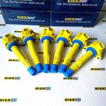 Conjunto de 6 bobinas de ignição bobina pacote apto 2001 2009 honda piloto ridgeline civic saturn vue acura mdx 3.5l 3.7l v6 el l4 1.7l c1460
