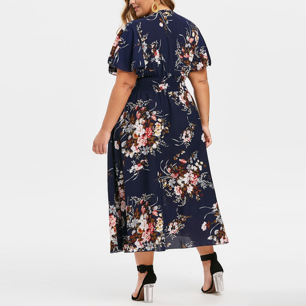 платье 2021 Dresses For Women Plus Size Floral Printed V-Neck  Short Sleeve Casual Dress Vintage Sexy Party 2021