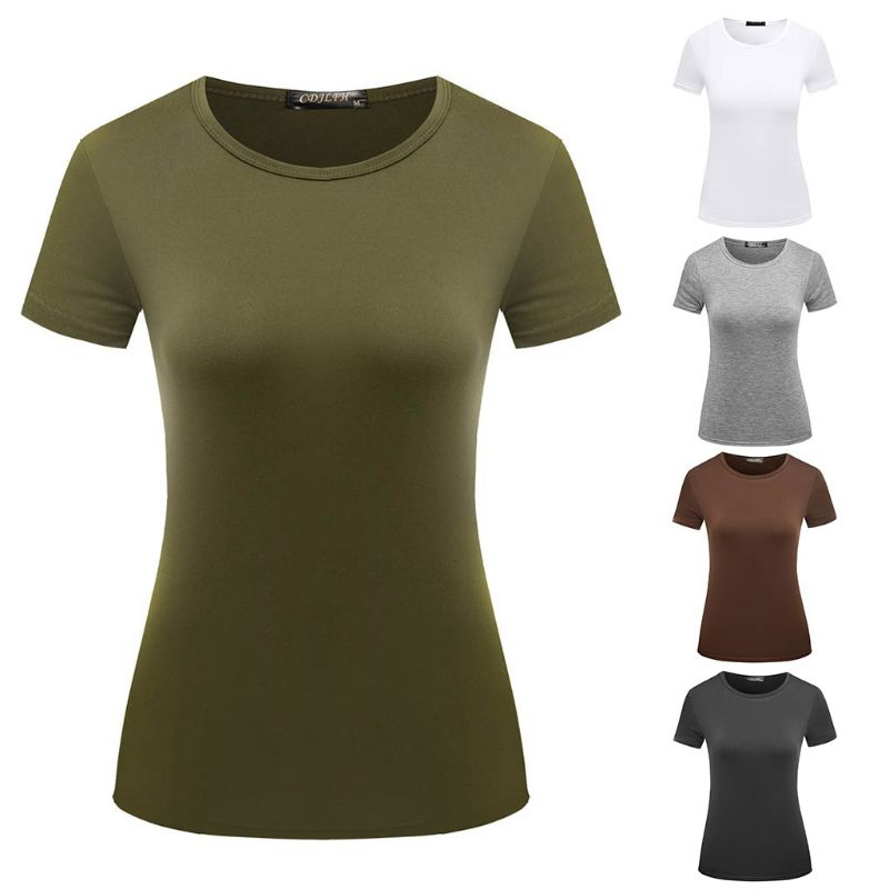 5 Color Women Girl Summer Basic   T  -  Shirt   Roll Up Short Sleeve Plain Solid Color Pullover Tops Polyester Regular   Shirts   Tees S-2XL