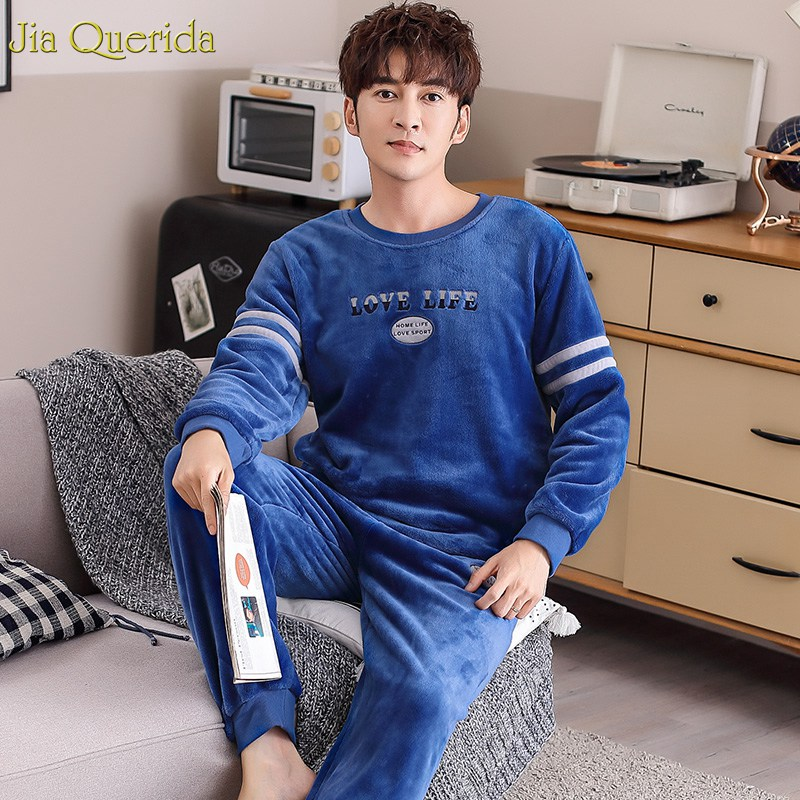 Men Sleepwear Pajamas-Set Sleeping-Suits Sporty Warm Letter Flannel Pullover Embroidery