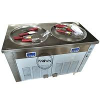 Excelente design r410a duplo round panelas fritar rolos de sorvete que faz a máquina frete grátis