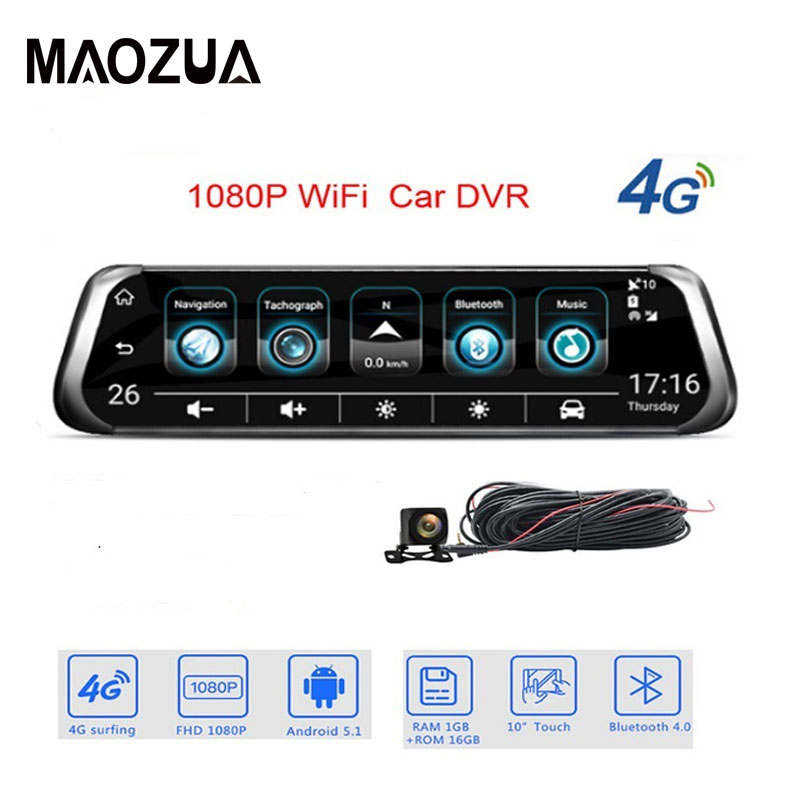 "4G Streaming Android Car DVR Special 10""Touch rearview mirror FHD 1080P Dual dash camera ADAS WiFi GPS Registrar dvrs"