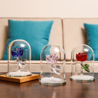 New Crystal Ornament Rose Flower Gift Send Girl Glass Cover Desktop Ornament Home Decoration Accessories Modern