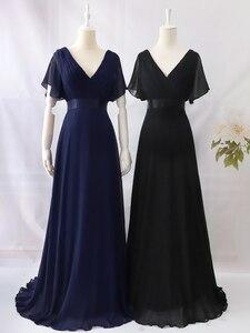 Image 5 - בתוספת גודל שמלות נשף אי פעם די אלגנטי אונליין כפול V צוואר ראפלס אלגנטי שיפון צד פורמלי שמלות Robe De Soiree 2020