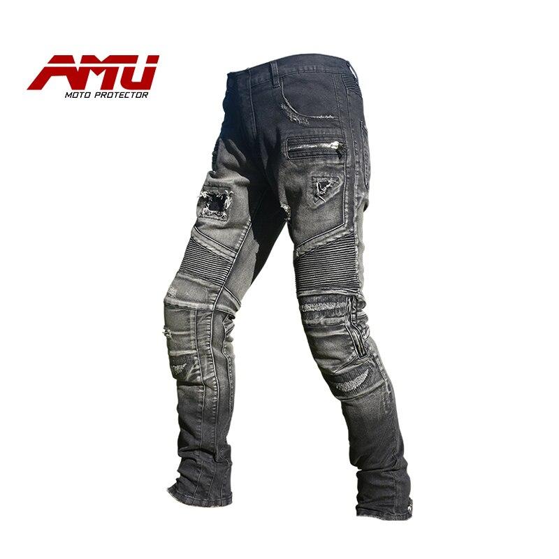 Men Komine Motorcycle Jeans With PAD Denim Biker Blue Black Distresses Pants