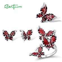 SANTUZZA rouge papillon ensemble de bijoux pour femme blanc CZ anneau boucles doreilles pendentif 925 en argent Sterling bijoux de mode à la main émail