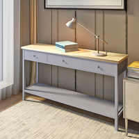 Panana 142 cm Length Grey Console Table Stunning Kitchen Hall Table 3 Drawers and Shelf Side Table