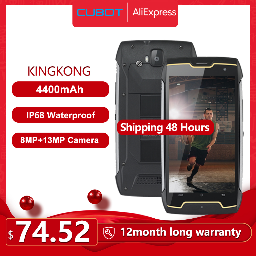 Cubot KingKong IP68 Waterproof Rugged Smartphone 4400mAh Big Battery 3G Dual-SIM Android 7.0 2GB RAM 16GB ROM Compass+GPS MT6580