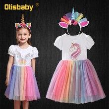Летние вечерние платья-пачки с единорогом на день рождения для девочек; Рождественское платье принцессы с принтом бабочки для маленьких де...