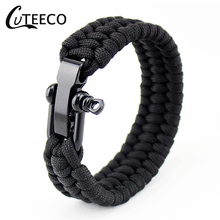 CUTEECO Metal Buckles Adjustable Bracelets Outdoor Survival Hiking Rescue Parachute Cord Men Emergency Buckle Camping