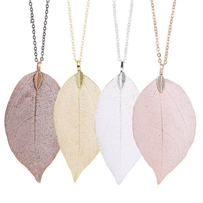 Fashion Long Chain Jewelry Women Special Leaves Leaf Sweater Pendant Necklace