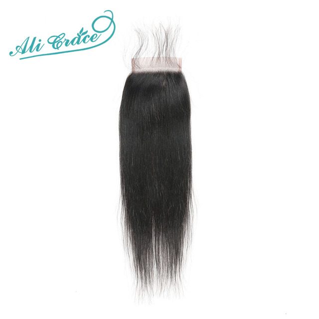 $ US $44.63 Ali Grace Brazilian Straight Hair HD Lace Closure 4x4 Swiss Lace Closure With Baby Hair Human Hair Closure Free Middle Part