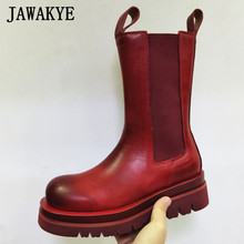 Women Boots Martin Thick Sole Black Real-Leather Winter Causal Warm Retro Plush Red