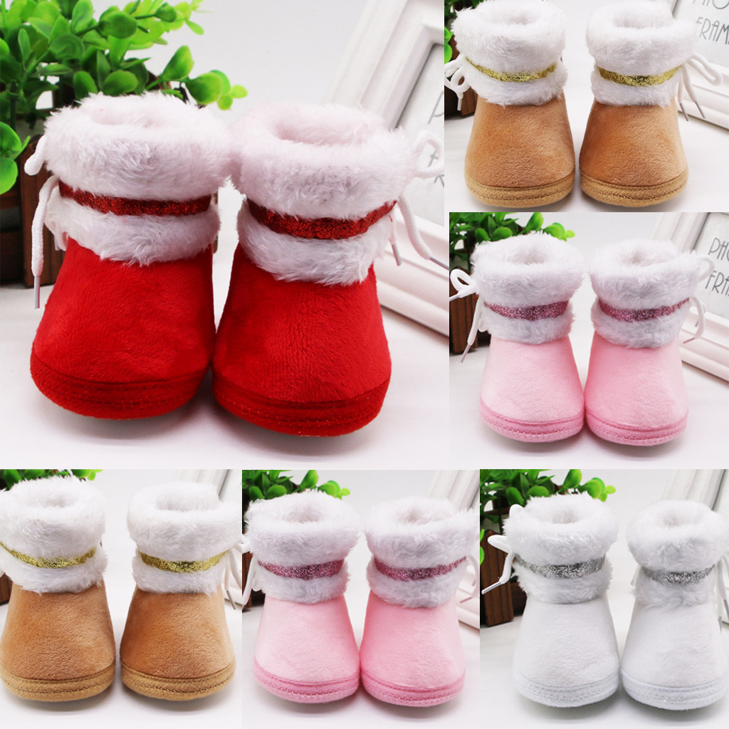 Infant Boots Newborn Baby Girl Winter Shoes Cashmere Plush Winter Baby Snow Boots Bandage Warm Baby Shoes Botas Bebe Ботинки