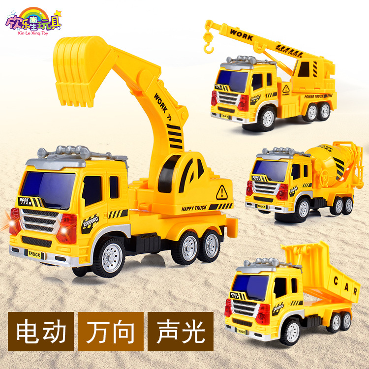 New Style Universal Electric Engineering Car Sound And Light Music Toy Car Electric Excavator CHILDREN'S Toy