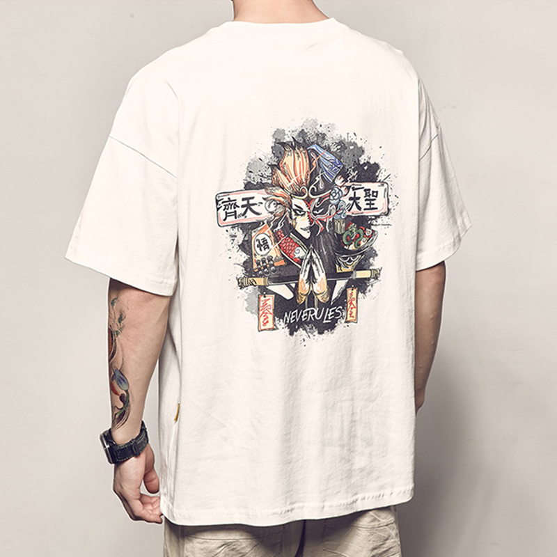 Monkey King cartoon Man summer t shirt Short Sleeve O neck oversized Clothes 2019 new anime Print Couple Japan Funny Fashion Top in T Shirts from Men 39 s Clothing
