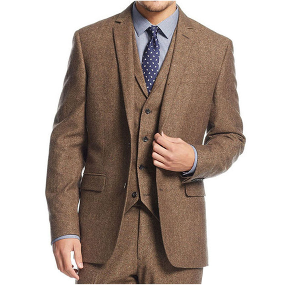 New-Brown-Tweed-3-Pieces-Men-Suits-Fashion-Formal-Business-Men-Suit-Set-Custom-Prom-Groom
