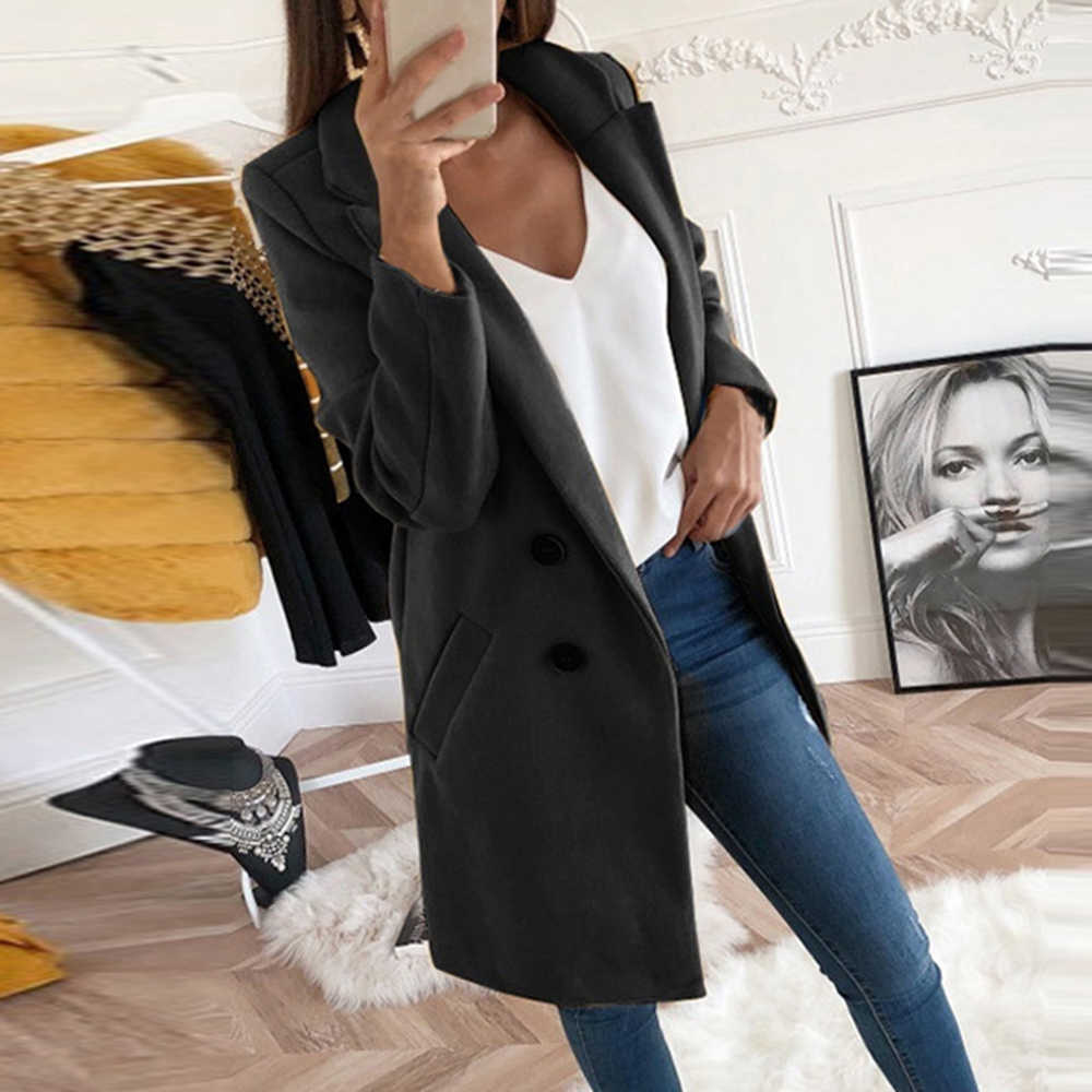 2019 New Long Wool Blends Coat Women Autumn Winter Slim Fit Jacket Ladies Mujer Fashion Turn-down Collar Solid Casaco Feminino