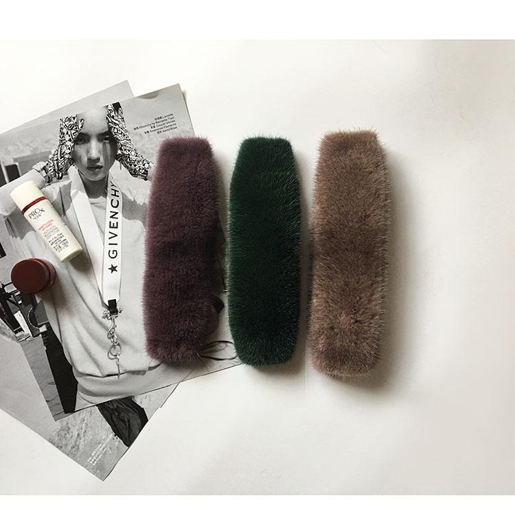 20cm Replacement Bag Strap Genuine Real Mink Fur Handbag Should Straps Handle For Women Purse Belts Charm Winter Accessories