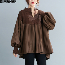 DIMANAF Plus Size Women Blouse Shirt Elegant Lady Tops Tunic Knitted High Street Pleated Fashion Loose Female Clothing Autumn
