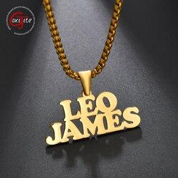 Goxijite personnalisé Double nom pendentif collier pour femmes hommes en acier inoxydable plaque signalétique lien chaîne colliers bijoux accessoires