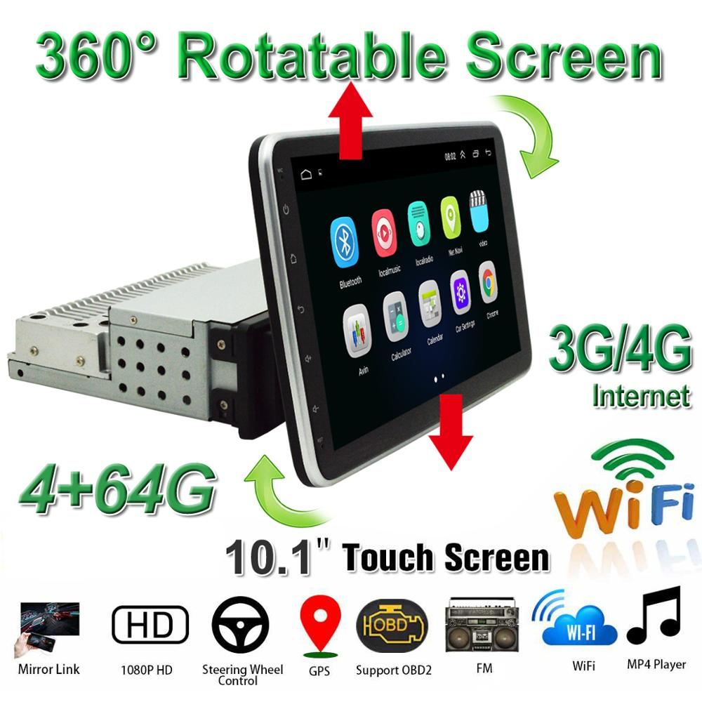 10.1 Inch Car DVD Player 1din Android 8.1 Multimedia Player With 360 Up/Down Degree Rotatable Screen GPS BT OBD2 WiFi/4G