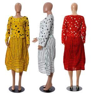 Image 5 - Echoine נשים ארוך מקסי שמלה מנוקדת גדול רופף מזויף שני חלקים כותנה פשתן שמלת סתיו בתוספת גודל נשית קיצית clothings