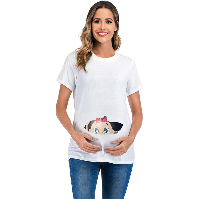 2021 Brand New Women Pregnancy Clothes Baby Now Loading Pls Wait Maternity T Shirt Summer Short Sleeve Pregnant T-shirts