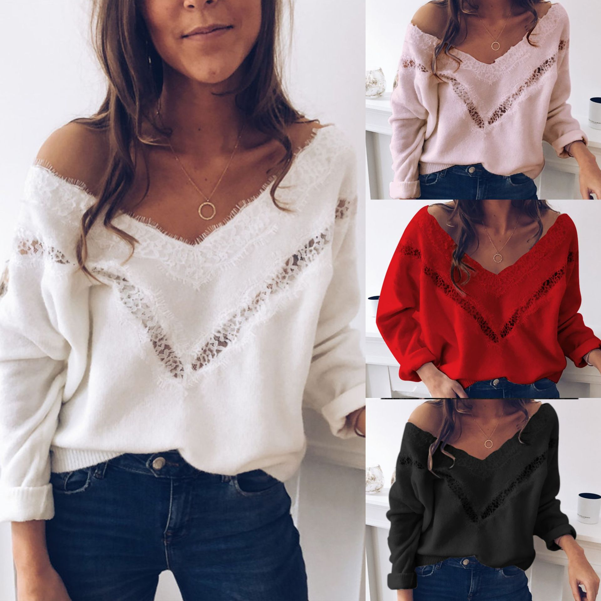 2019 Sexy Low Cut Lace Patchwork White Long Sleve Women Blouse Sexy Tops And Blouse Fall Tops Women