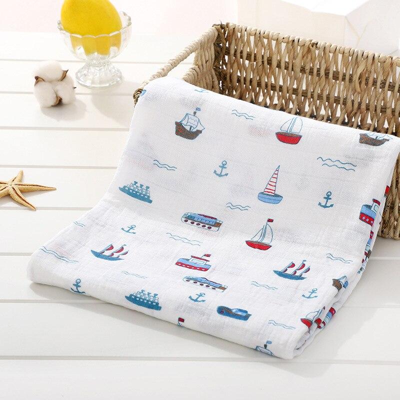 1 шт., муслин, хлопок, детские пеленки, мягкие одеяла для новорожденных, для ванной, марля, Детская накидка, спальный мешок, чехол для коляски, игровой коврик - Цвет: Ship
