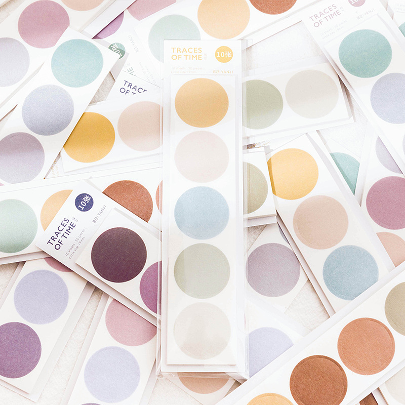 10 Sheets Round Dot Label Self Adhesive Sealing Sticker Scrapbooking Diary Decor Office School Suppliers Crafts