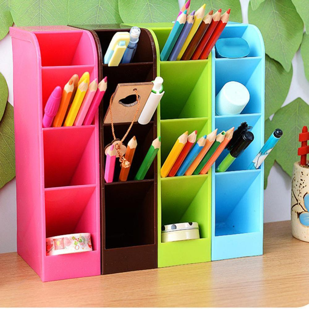 Plastic Office Desktop Storage Box Stationery Pen Pencil Box Holder Makeup Organizer Remote Control Case Container