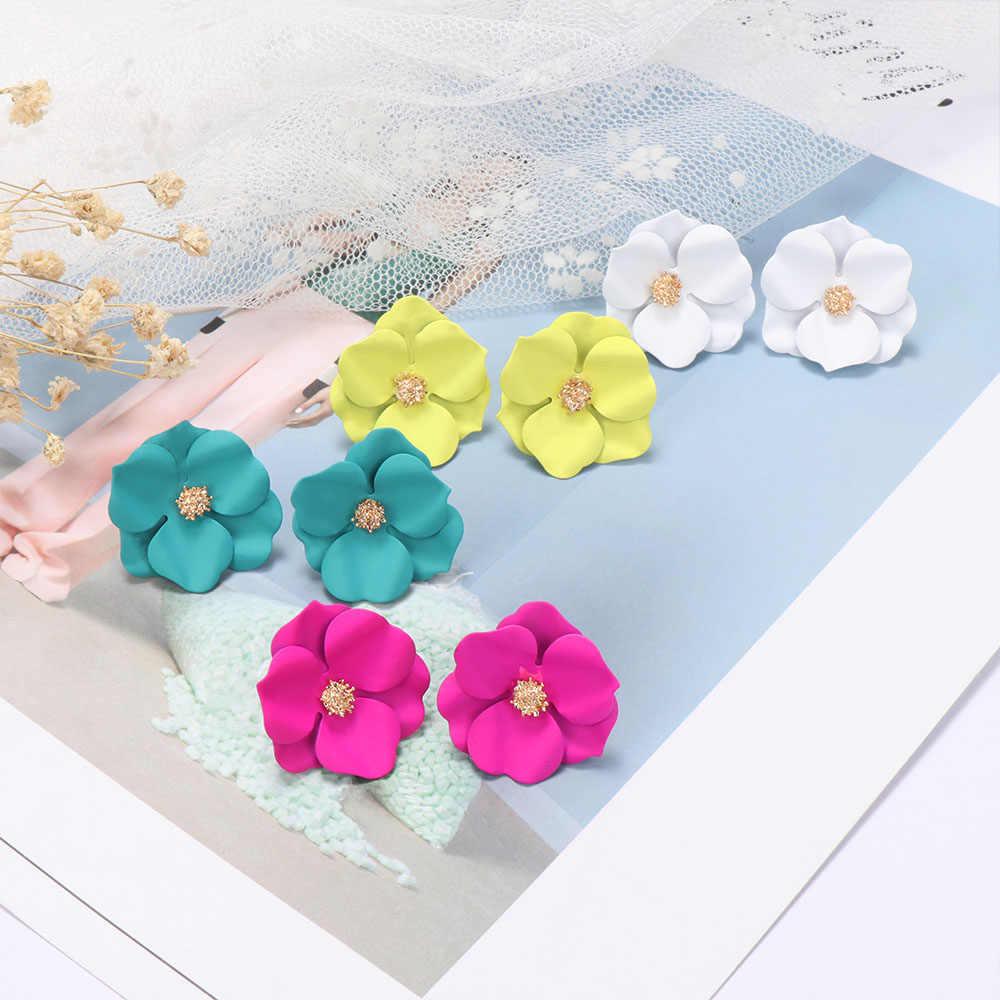 Hyperbole Bunga Anting-Anting Wanita Anting-Akrilik Besar Putih Orange Green Bunga Liburan Anting-Anting 2019 Desain Baru Berlebihan Resin Bunga