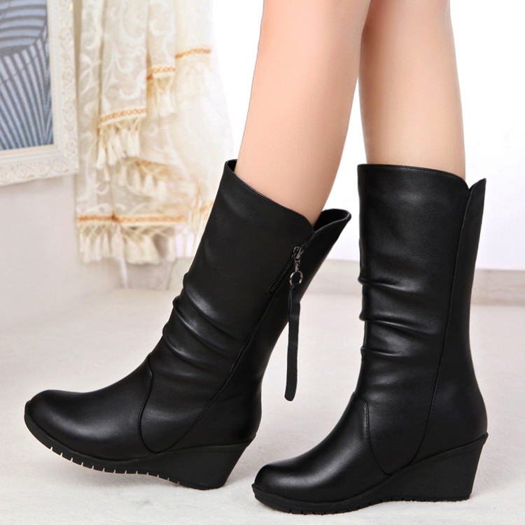 Platform Wedge Boots Women Black Winter Shoes Autumn High Boots Womens Wide Mid-Calf Boots Ladies Leather Tall Boots PlusSize 42