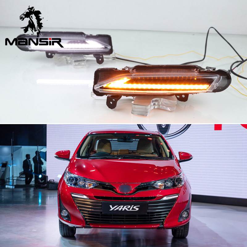 12V LED Tagfahrlicht Daylight ABS Auto DRL Für Toyota Yaris 2017 2018 2019 Dynamische Gelb Drehen Signal relais Auto DRL