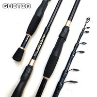 Ghotda telescópica isca vara de pesca 1.6/1.8/2.1/2.4 m ultraleve fibra de carbono fiação vara de pesca isca peso 10-30g