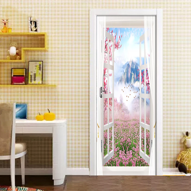 Фото 3d настенная наклейка на дверь декорации снаружи окна обои для