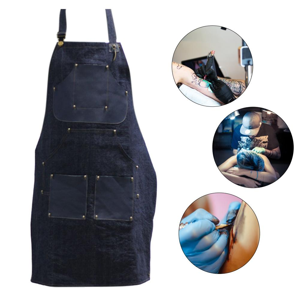 Black Tattoo Artist Apron Denim BBQ Cleaning Apron Cooking Apron Bartender Man Cowboy Antifouling Home Chef Apron 27 X 34 In 40p