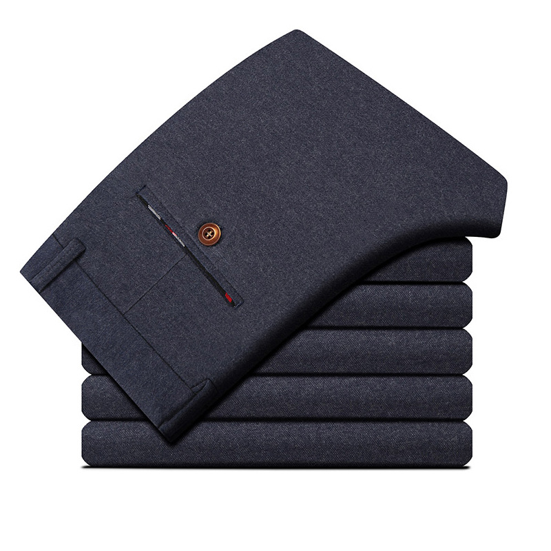 2019 New Style MEN'S Casual Pants Straight-Leg Trousers Brushed And Thick Berber Fleece Warm Sweatpants Men's Casual Pants