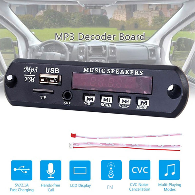 5V Car MP3 Decoder Board MP3 Player Wireless Receiver  Audio Module Four Buttons Multi-directional Control Audio Player Accessor