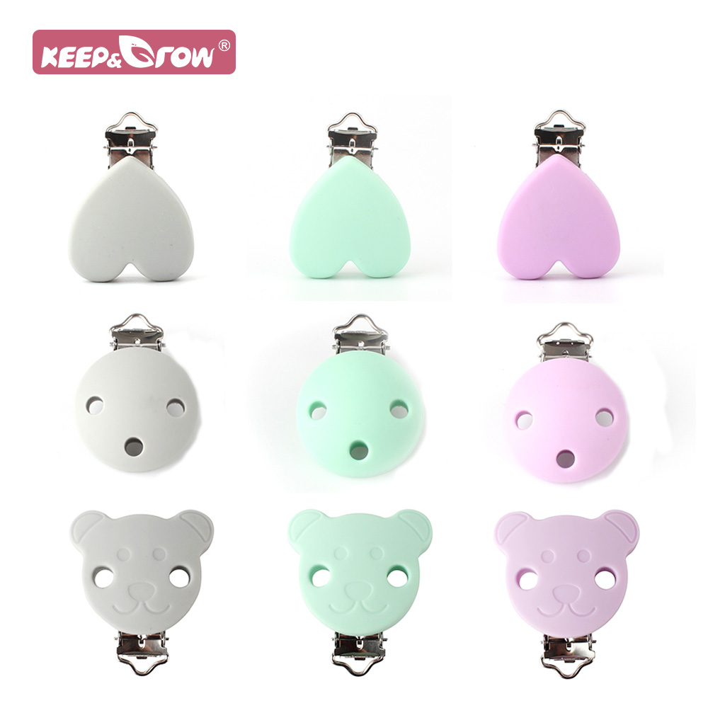 Keep&Grow 2pcs Silicone Pacifier Chains Clips Heart Bear Round Baby Teether Clips Hold Nipple Chains Baby Oral Care Products