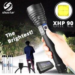 La linterna LED XHP90 más brillante linterna táctica impermeable 3 modos de iluminación Zoomable caza camping lámparas de 18650 o 26650