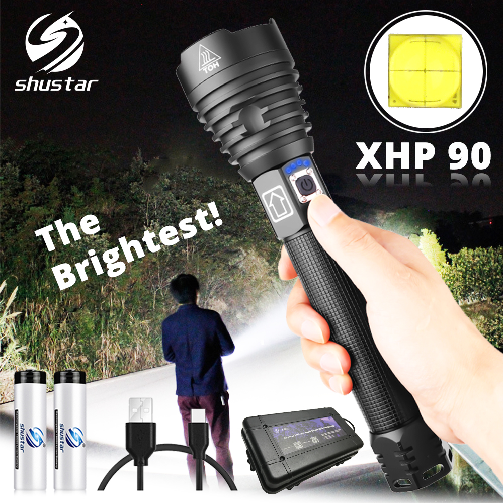 The brightest XHP90 LED Flashlight Tactical waterproof Torch 3 Lighting modes Zoomable Hunting camping lamps By 18650 or 26650LED Flashlights   -