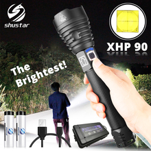 The brightest XHP90 LED Flashlight Tactical waterproof Torch 3 Lighting modes Zoomable Hunting camping lamps By 18650 or 26650 цены