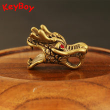 Handmade Brass Red Zircon Eyes Mini Dragon Head Charms Car Keyholder Pendants DIY Belt Strip Key Chain Ring Hardware Accessories(China)