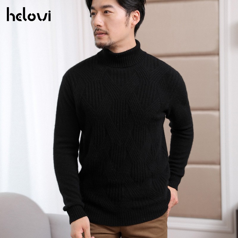Helovi 2019  Winter  Turtleneck Sweater 100% Cashmere Sweater Large Size Solid Color Long Sleeve Fashion