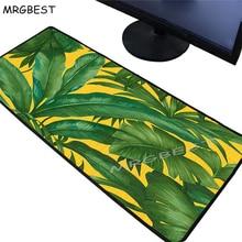 MRGBEST Csgo Lol Banana Green Leaf Plant Large Game Lock Edge Mouse Pad Keyboard Desktop Mat Notebook Laptop Player Mousepad XXL
