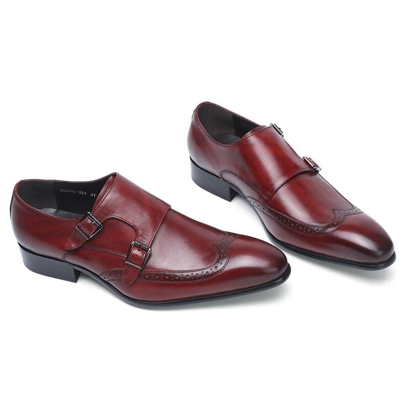فيليكس CHU جودة عالية جلد أصلي للرجال الرسمي أحذية حزب وأشار اصبع القدم متأنق الزفاف عنابي أسود الراهب فستان بحزام أحذية-في أحذية رسمية من أحذية على  مجموعة 2