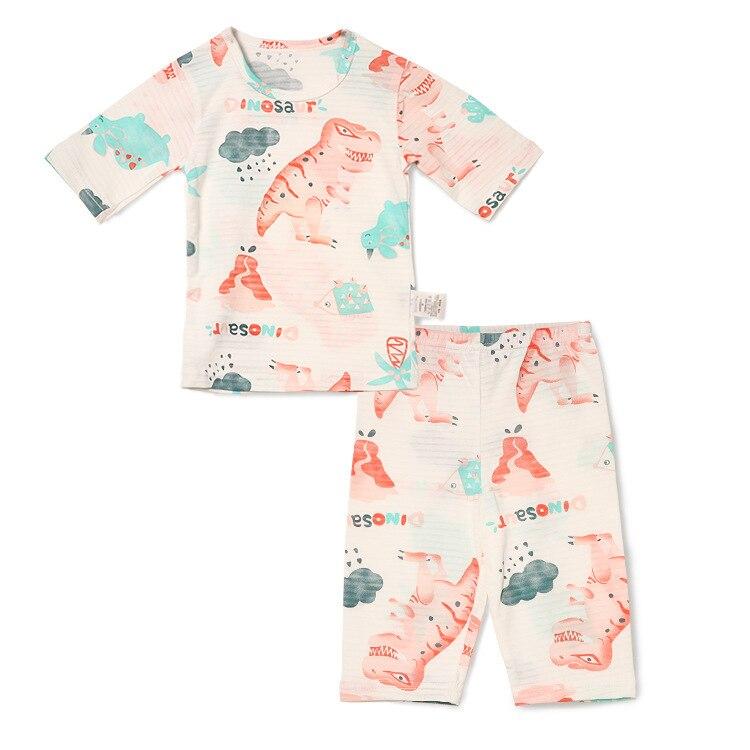 Seven 7 Points Slub Cotton Air Conditioning Clothes South Korea Men And Women Baby Cotton Tracksuit Pajamas Suit Childrenswear M