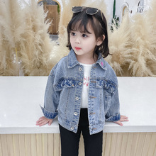 Small Children's Denim Girls Jackets Toddler Long Sleeve Blue Color Cowboy